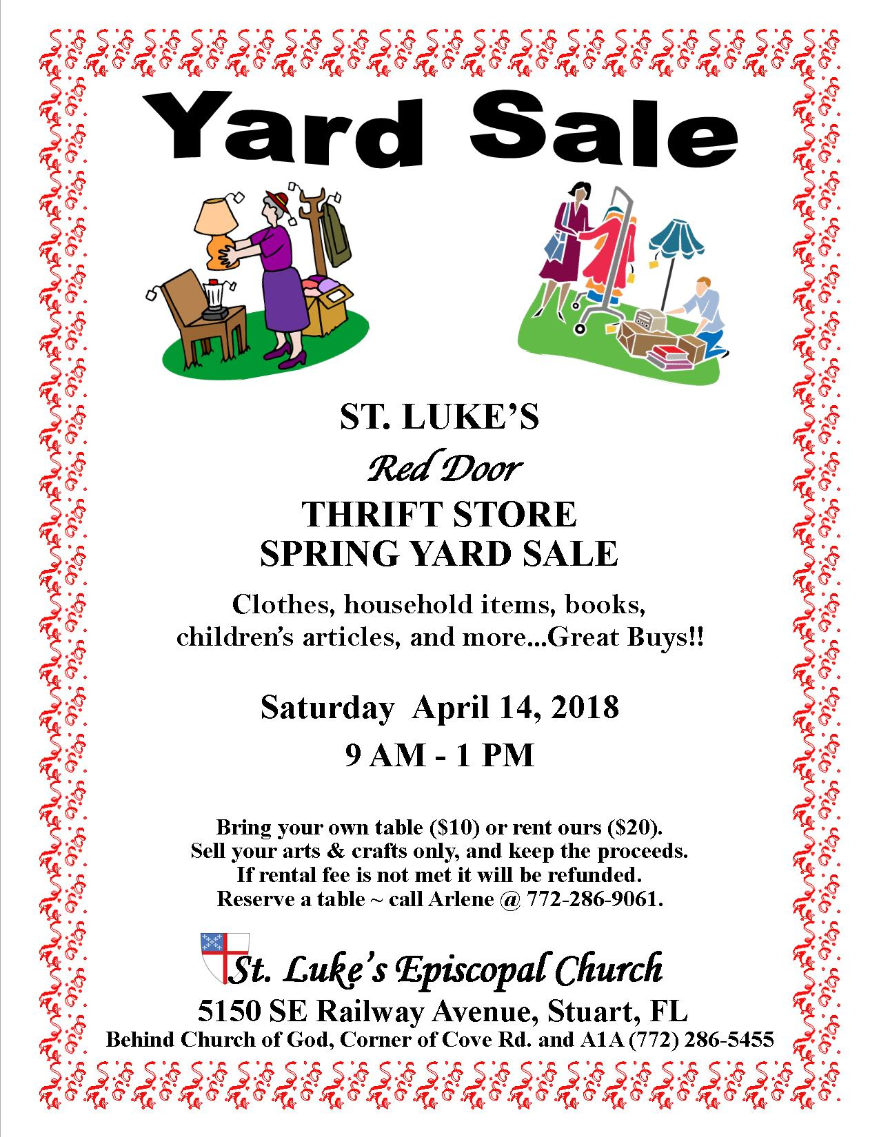 St Lukes Red Door Thrift Store Spring Yard Sale Martin County