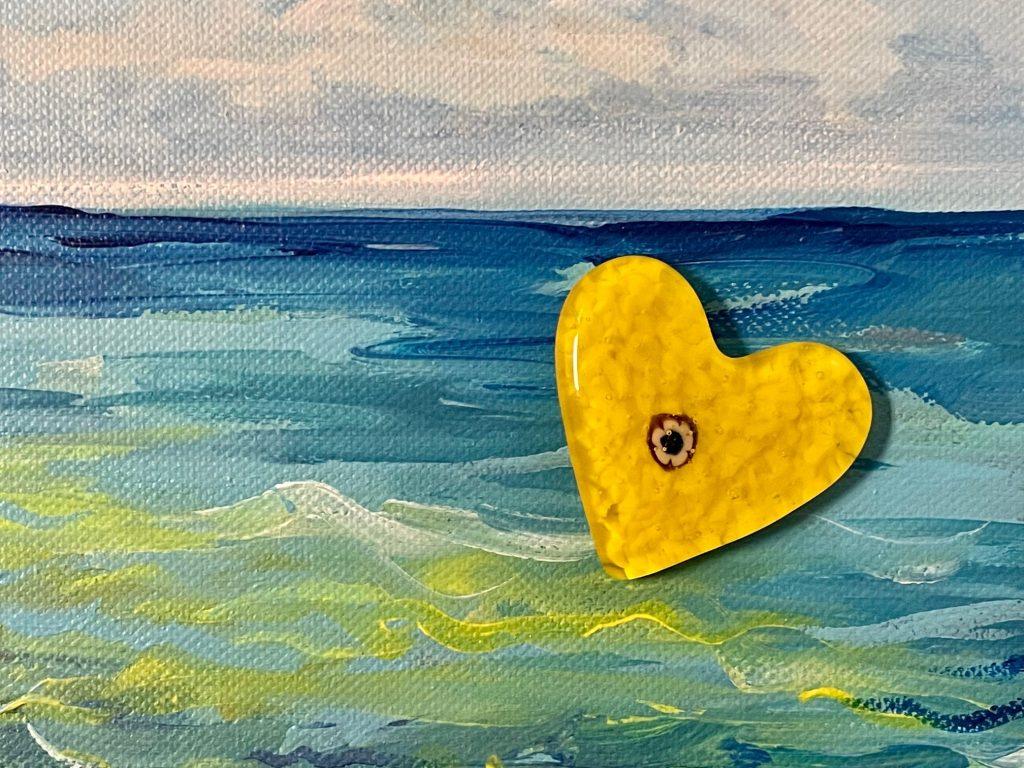 Yellow Heart Sculpture